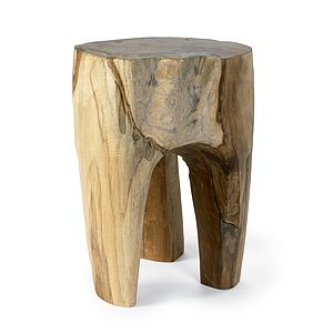 Raw Teak Wood Stool By Nordal - furniture