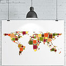 Squares World Map Print