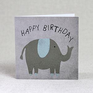 Elephant Happy Birthday Card - birthday cards