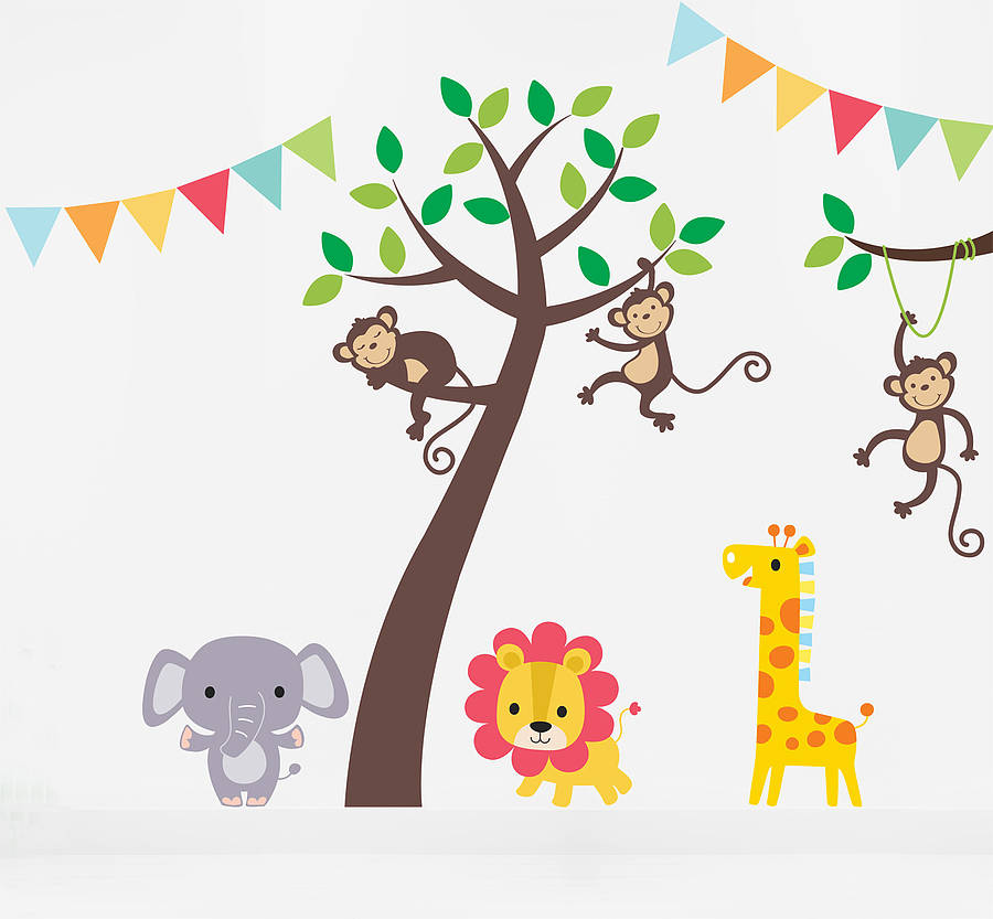 Jungle Friends Tree Wall Stickers By Parkins Interiors - Wall decals jungle