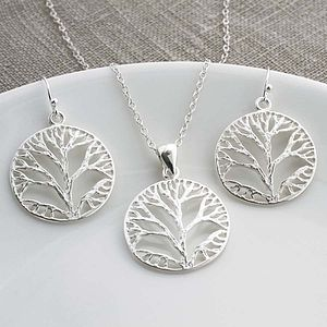 Silver Tree Pendant And Hook Earrings Set - women's jewellery