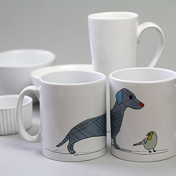 Dog And Bird Ceramic Mug