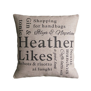Personalised 'Likes' Cushion Cover - bedroom