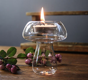 Hand Blown Glass Tea Light 'Mushroom' - room decorations