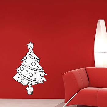 Colour In Christmas Tree Wall Stickers