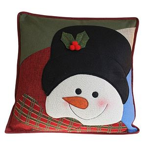 Snowman's Face Christmas Cushion - living room