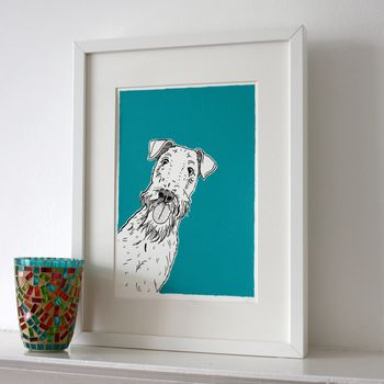 Airedale dog portrait with teal background choice