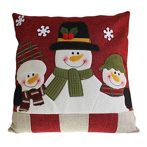 Snowman And Friends Christmas Cushion