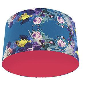 Turquoise Floral Designer Drum Lampshade