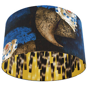 Blue Parrots Designer Drum Lampshade - lighting