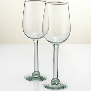 A Set Of Four Recycled Tulip Style Wine Glass