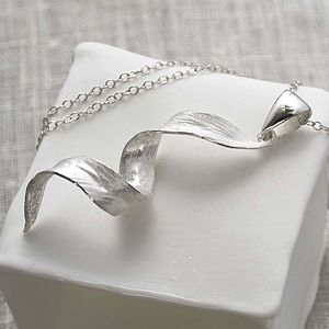 Silver Leaf Spiral Necklace And Earrings Set - jewellery sets