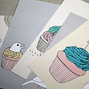 Set Of Five Birds And Cupcakes Postcards