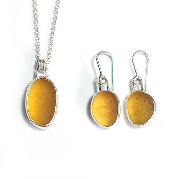 Golden Sea Glass Pendant And Earring Set