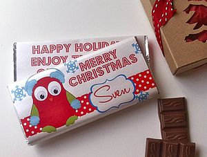 Christmas Owl Chocolate Bars - food & drink gifts