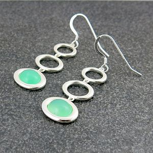 Chrysoprase Three Drop Earrings - earrings