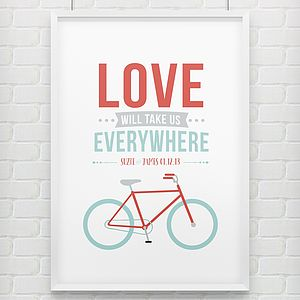 'Bike Lovers' Personalised Couples Print