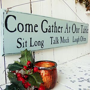 Personalised 'Come Gather At Our Table' Sign