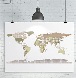 Patchwork World Map Print