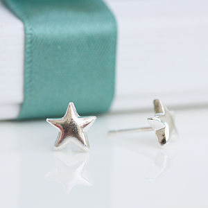 Tiny Little Silver Star Stud Earrings