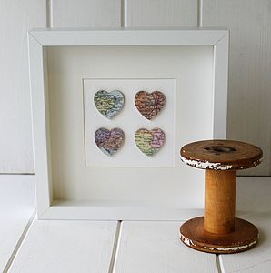 Personalised Four Hearts Map Picture - mixed media pictures for children