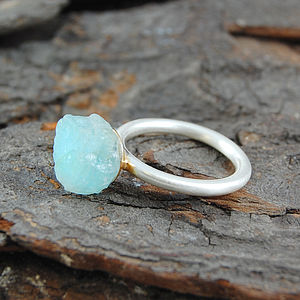 Aquamarine Rough Stone Ring - rings