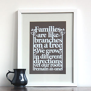 Family Tree Print Papercut Style - mixed media & collage