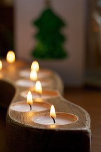 Handmade Wooden Tea Light Holder - table decorations