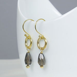 22 K Gold Plated Smokey Quartz Earrings - gifts for her