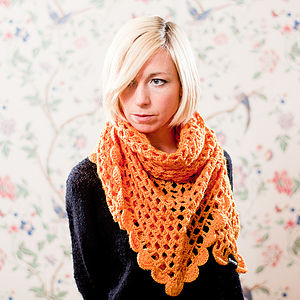 Crocheted Shawl And Scarf - women's accessories sale