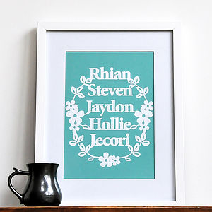 Personalised Family Names Print Wall Art - gifts for families