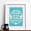 Personalised Family Names Print Wall Art
