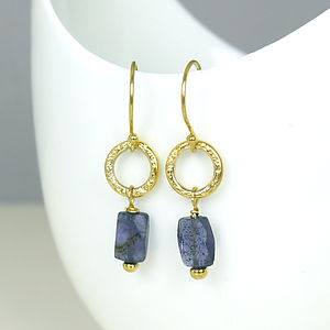22 K Gold Plated Iolite Hoop Earrings - earrings