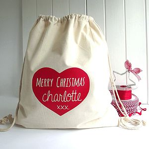 Personalised Heart 'Knitti Kiss' Santa Sack - storage