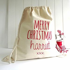 Personalised 'Knitti Kiss' Santa Gift Sack - stockings & sacks