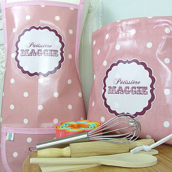 Personalised Spotty Baking Set And Apron