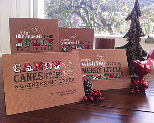 Typographical Christmas Card Pack - cards & wrap
