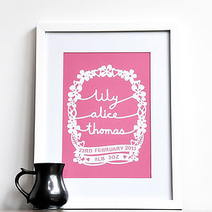 Personalised Baby Name Print - gifts for babies