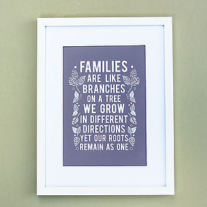 Families Are Like Branches On A Tree   Print
