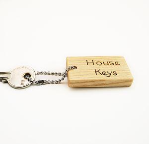 Personalised Natty Wood Keyring