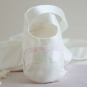 Baby Ballet Slippers With Silk Trim - christening wear