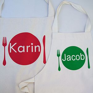 Personalised Adult And Child Apron Set - aprons