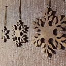 Set Of Three Fairtrade Wooden Snowflakes