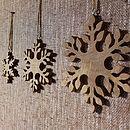 Set Of Three Fairtrade Wooden Snowflakes