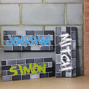Graffiti Name Canvas, Hand Painted - gifts for teenage boys