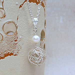 Sterling Silver Bird's Nest & Pearl Necklace - wedding jewellery