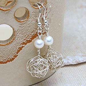 Sterling Silver Bird's Nest & Pearl Earrings