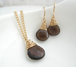 Smoky Quartz Necklace And Earring Set - jewellery sets
