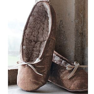 Antique Shimmer Snuggle Ballerina Slippers - women's fashion