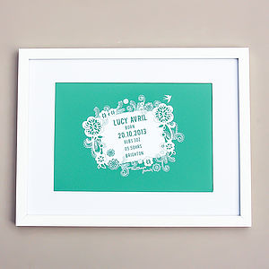 Personalised Birth Announcement Art Print - gifts for babies